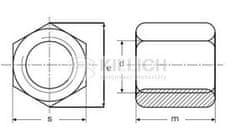 Killich matice M14x42 ZINEK /6/ spojovací prodlužovací DIN 6334