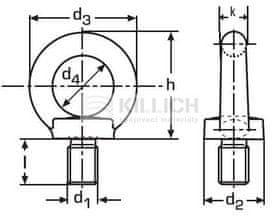 Killich šroub M10 BEZ PÚ C15 E s okem závěsný DIN 580