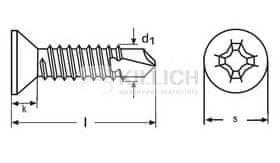 Killich tex 4.8x60 ZINEK zápustná hlava křížová drážka DIN 7504P
