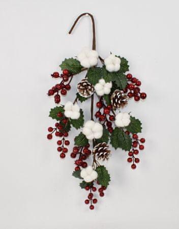 DUE ESSE Vánoční dekorace větvička s bobulemi 54 cm
