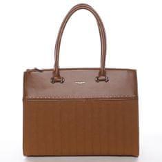 David Jones Luxusní dámský koženkový kufřík Rosina koňaková