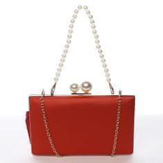Michelle Moon Luxusní dámské psaníčko s perlami Ángela, červené