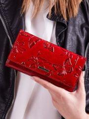 Cavaldi Červená kožená peněženka se vzorem motýlů Suzi