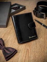 Pierre Andreus Černá prošívaná kožená pánská peněženka Patrick s přezkou