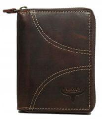 Buffalo Wild Prošívaná kožená peněženka na zip Luke, hnědá