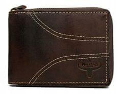 Buffalo Wild Pánská prošívaná peněženka na šířku z kůže Clooney, hnědá