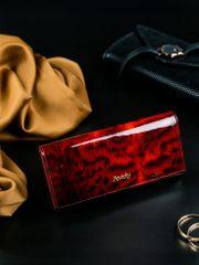Rovicky Kožená lakovaná peněženka se zvířecím vzorem Kita, červená