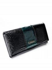 4U Cavaldi Zajímavá kožená lakovaná peněženka Tina, černo-zelená