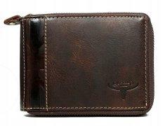 Buffalo Wild Elegantní pánská kožená peněženka na zip, hnědá