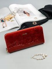 Lorenti Dámská kožená peněženka s růžemi Fia, červená