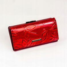 Cavaldi Lakovaná kožená dámská peněženka se vzorem květin, červená