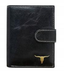 Buffalo Wild Černá kožená pánská peněženka s klopou Ted