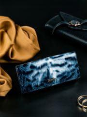 Rovicky Kožená lakovaná peněženka se zvířecím vzorem Kita, černá