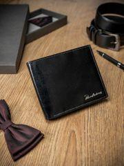 Pierre Andreus Obdélná pánská kožená peněženka na šířku bez přezky, černá