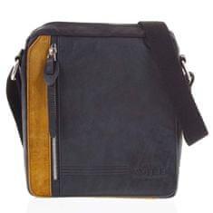 Always Wild Pánská kožená stylová taška kombinovaná Savino černá/oranžová