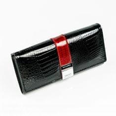Lorenti Elegantní lesklá kožená peněženka Imma, černá