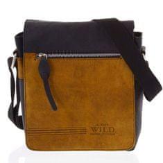 Always Wild Pánská kožená taška s překlopem kombinovaná Diodora černá/oranžová