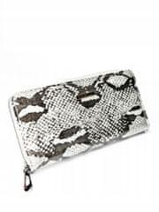 4U Cavaldi Kožená peněženka na zip se vzorem hadí kůže Rosalind, stříbrná