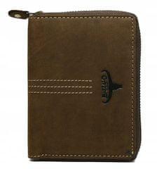 Buffalo Wild Praktická kožená pánská peněženka na zip Trevor, hnědá