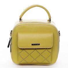 David Jones Menší stylová koženková kabelka City life žlutá