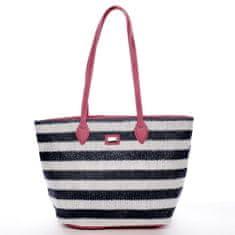David Jones Letní koženkovo textilní taška Navy Stripes modro růžová