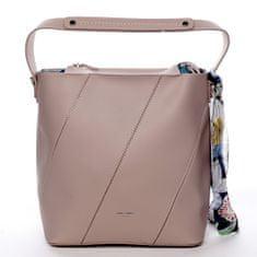 David Jones Moderní dámská koženková kabelka s vnitřní taškou a šátkem Elsa růžová