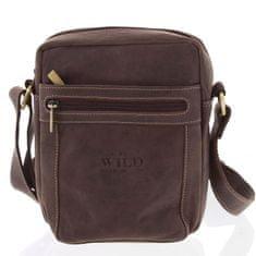 Always Wild Pánská kožená taška se zipy Valerio hnědá