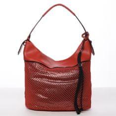 Maria C. Měkká dámská kabelka přes rameno Alessia, červená