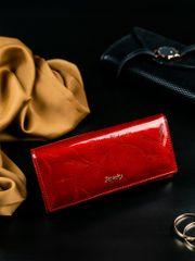 Rovicky Kožená lakovaná peněženka se vzorem Lily, červená