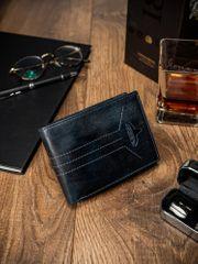 Buffalo Wild Modrá pánská prošívaná kožená peněženka Jone