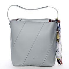 David Jones Moderní dámská koženková kabelka s vnitřní taškou a šátkem Elsa šedá