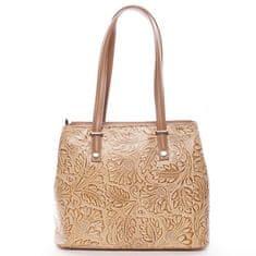 Delami Vera Pelle Módní kožená kabelka se vzory Tatum, koňaková