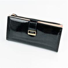 Lorenti Velká šikovná peněženka na klopu a na zip, lesklá černá