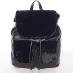 Silvia Rosa Elegantní dámský batoh s kožíškem Šantel, černý