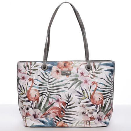 David Jones Svěží dámská kabelka s květy přes rameno, šedá
