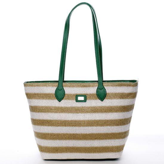 David Jones Plážová taška Navy Stripes zelená