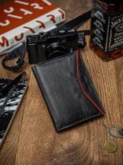 Always Wild Malá pánská kožená peněženka Levi, černo-červená