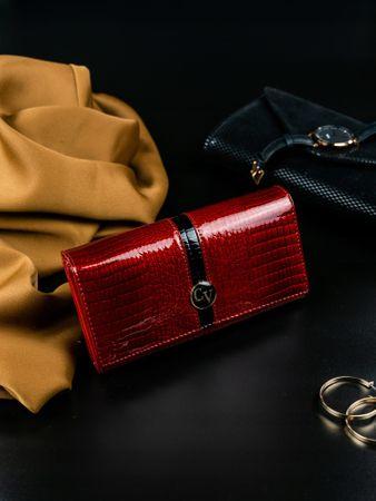 4U Cavaldi Luxusní lakovaná peněženka z kůže Gira, červená