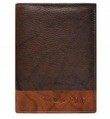 Always Wild Prošívaná pánská kožená peněženka Bruno, hnědá