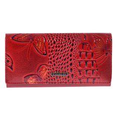 Cavaldi Prostorná nadčasová kožená peněženka Nevada, červená