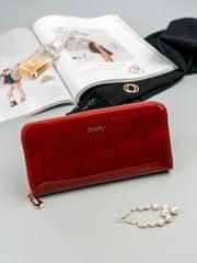 Lorenti Dámská třpytivá peněženka z kůže Luna, červená
