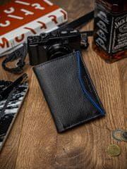 Always Wild Malá pánská kožená peněženka Levi, černo-modrá