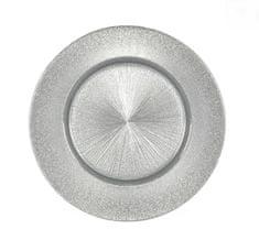 DUE ESSE Üvegtál Ø 33 cm, ezüst
