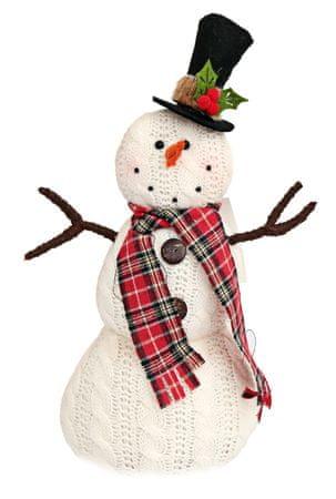 Sifcon Vánoční dekorace TARTAN sněhulák s kloboukem, pletené, 14 × 12 × 33 cm