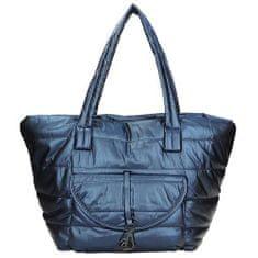 Modrá prošívaná textilná kabelka