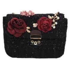 Luxusní fialová kabelka s květinovými motivy + dárek zdarma