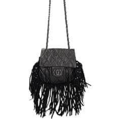 Moderní černá prošívaná crossbody kabelka s třásněmi + dárek zdarma