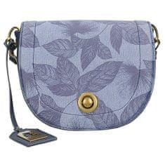 Exkluzivní modrá crossbody kabelka s potiskem listů