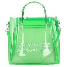 Průhledná zelená kabelka do ruky i na rameno