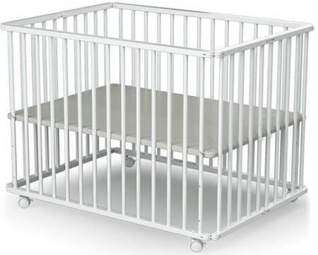 AT4 kojec dziecięcy składany 70 × 100 cm z kółkami ESSENTIEL, biały